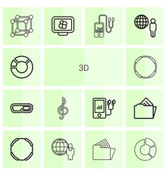14 3d icons vector