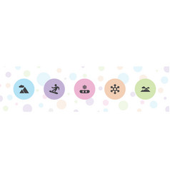 5 snow icons vector