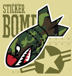 air bomb flying tiger shark mouth sticker vinyl vector image