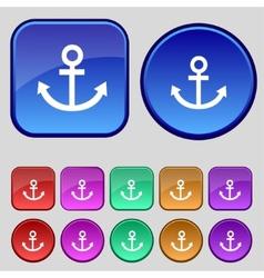 Anchor icon Set colourful buttons sign vector