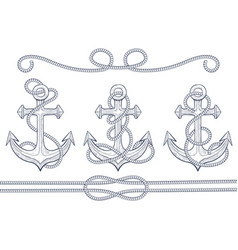 anchors with rope hand drawn sketch vector image