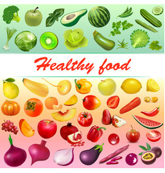 background healthy food with vegetables fruits vector image
