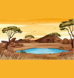 Background scene with pond in desert land vector