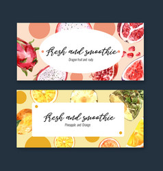 Banner design with fruits theme dragonfruit vector