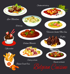 Belgian cuisine meat and dessert dishes vector