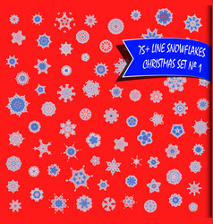 big set of geometric snowflakes snow background vector image