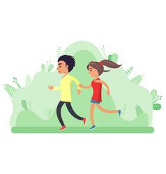 Boy and girl teenagers jogging people vector