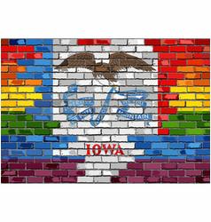 Brick wall iowa and gay flags vector