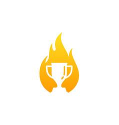 Burn trophy logo icon design vector