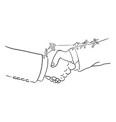 Businessman helping eachother on big handshake vector