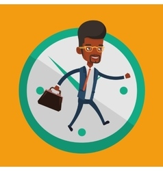 Businessman running on clock background vector