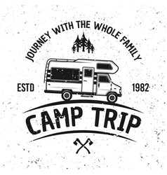 Camping van vintage emblem badge or label vector