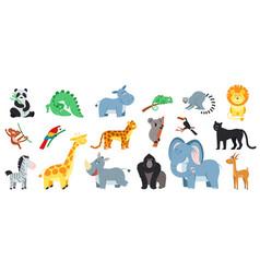cartoon exotic animal isolated zoo animals bundle vector image