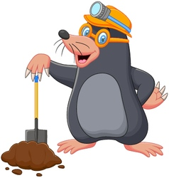 Cartoon mole holding shovel vector