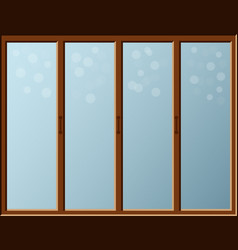 cartoon window with bokhe effect on glass indoor vector image