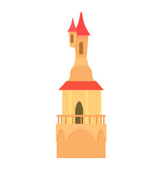 Castle tower with a pointed domes icon vector