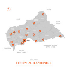Central african republic map with administrative vector
