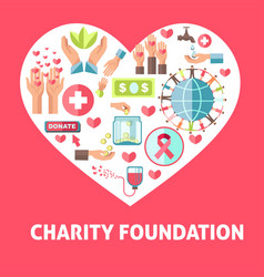 Charity and donation help symbols vector