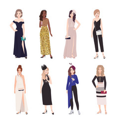 Collection of beautiful young women in evening vector