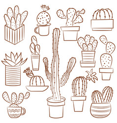 collection of cute potted cactuses vector image