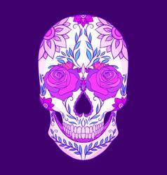 Color neon of a sugar skull wit vector