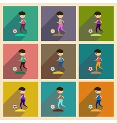 Concept of flat icons with long shadow football vector