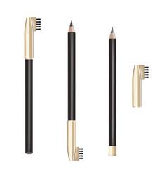 Cosmetic black pencil eye pencil with vector
