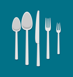 cutlery set flat style vector image