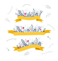 decorative floral composition with ribbon for text vector image
