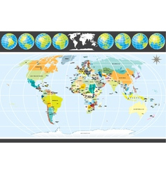 Detailed political world map with all countries vector
