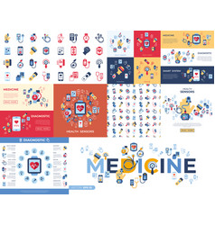 digital health sensor icons set vector image