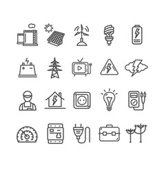 electricity signs black thin line icon set vector image