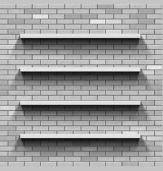 Empty shelves on a brick wall template background vector