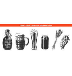 engraved style beer collection for posters vector image