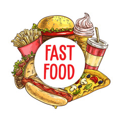 fast food meals and drinks sketch frame vector image