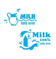 Fresh farming milk emblem vector