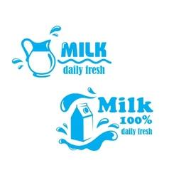 Fresh farming milk emblem vector image