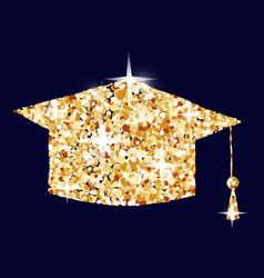 Graduation cap symbol concept gold vector