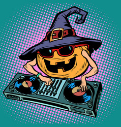 halloween pumpkin dj character musical holiday vector image