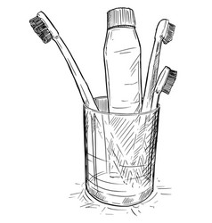 hand drawing of toothbrushes and toothpaste in vector image