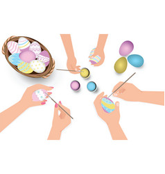 Happy easter family having fun paint and decorate vector