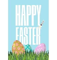 Happy Easter Green grass Colorful Easter eggs vector