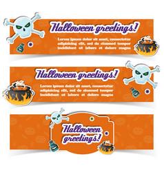 happy halloween greeting horizontal banners vector image
