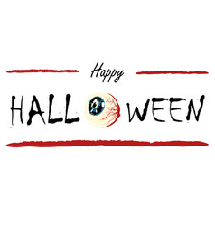 happy halloween text banner with res eye vector image