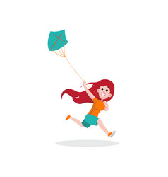 Happy kid girl character running with blue kite vector