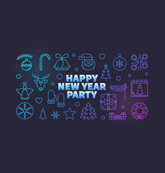 happy new year party line colored vector image
