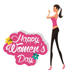 happy womens day girl with flower vector image
