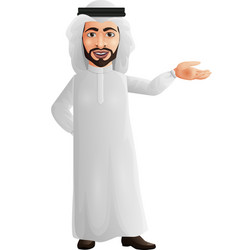 happy young arab businessman presenting vector image