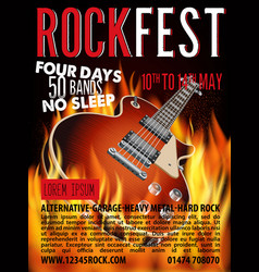 Hard rock festival poster with guitar vector