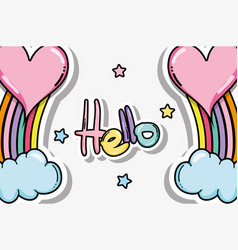 Hello card with cute cartoons vector